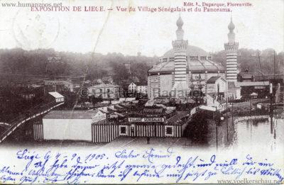 1905 Exposition de Liège - Vue du Village Senegalais et et du Panorama