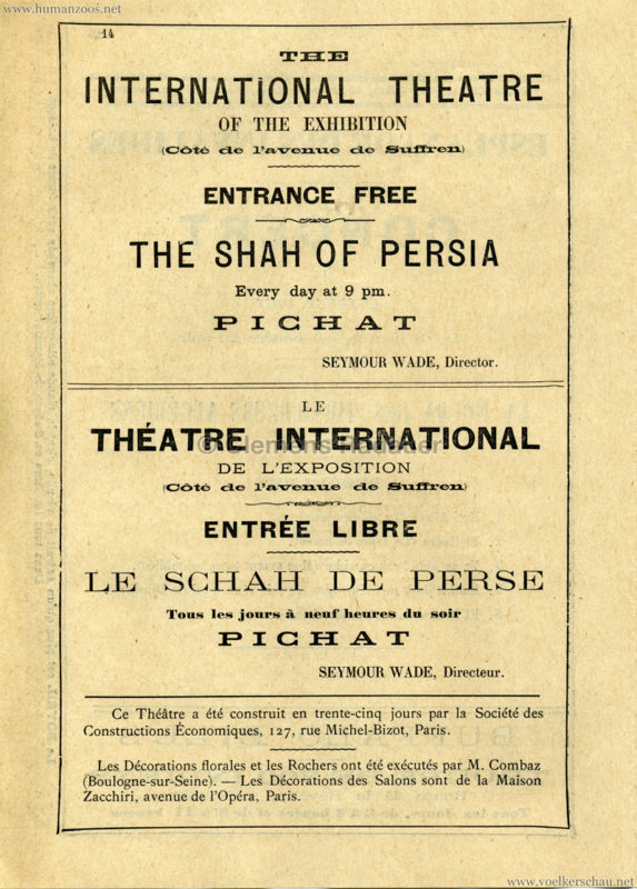 1889 Exposition Universelle Paris - Programme officiel - Shah of Persia
