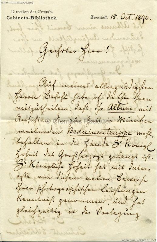 1890.10.15 Brief Beduinentruppe München 1