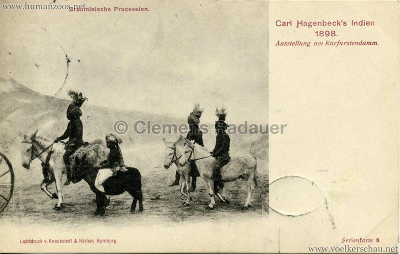 1898 Carl Hagenbeck's Indien - Brahminische Procession Serienkarte 8 gel. 22.09.1898