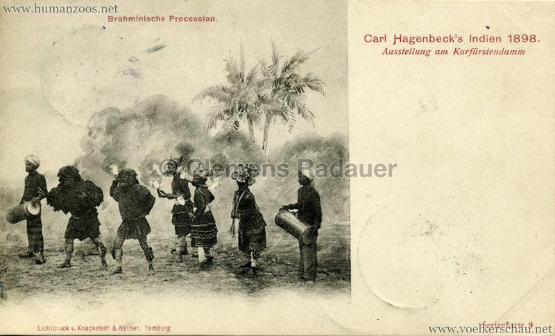 1898 Carl Hagenbeck's Indien - Brahminische Procession Serienkarte 9 gel. 22.09.1898