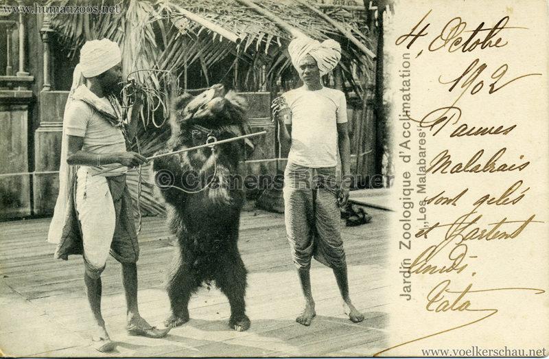 1902 Jardin Zoologique d'Acclimatation - Les Malabares - Bärendompteure gel 04.10.1902