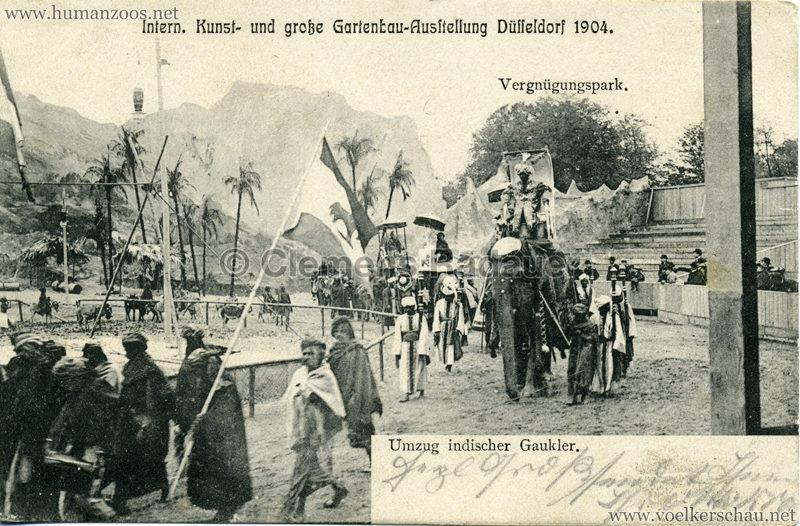 1904 Internationale Kunst- u. Gartenbau-Ausstellung Düsseldorf - Umzug indischer Gaukler