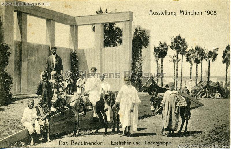 1908 Ausstellung München - Das Beduinendorf - 46. Eselreiter und Kindergruppe VS