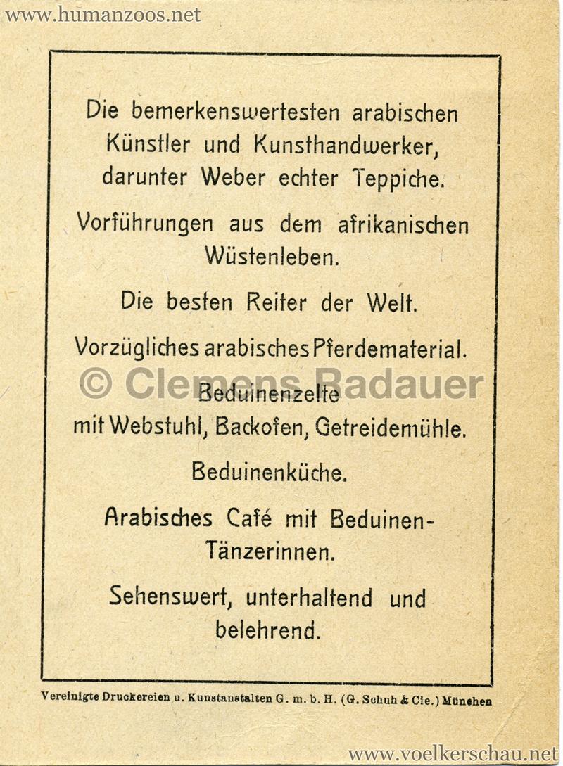 1908 Ausstellung München - Das Beduinendorf - Werbekarte RS