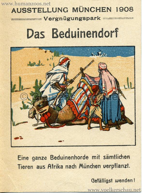 1908 Ausstellung München - Das Beduinendorf - Werbekarte VS