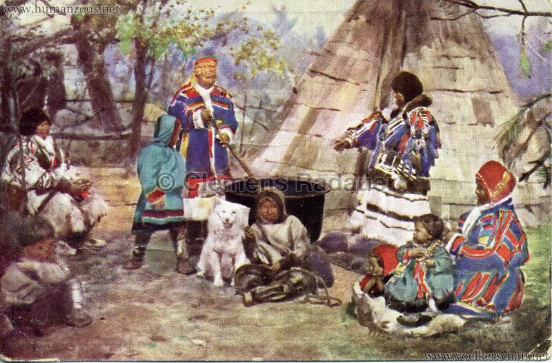 1911 Ausstellung Nordland, Berlin-Halensee - Samojedenfamilie mit Sommerhütte