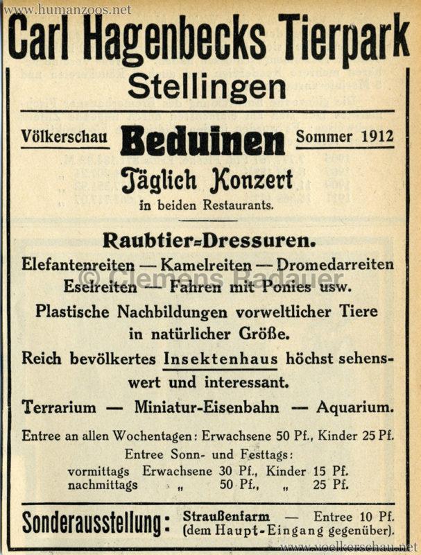 1912 Völkerschau Beduinen - WERBUNG