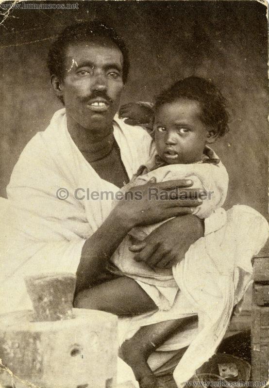 1926 L. Ruhe - John Hagenbeck's Somali-Dorf aus Abessinien - Mann mit Kind gel.1926