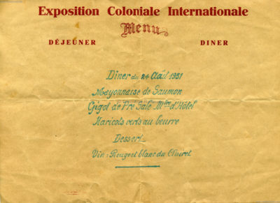 1931 Exposition Coloniale Internationale Paris Menue 2