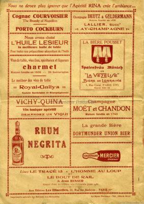 1931 Exposition Coloniale Internationale Paris Menue 3