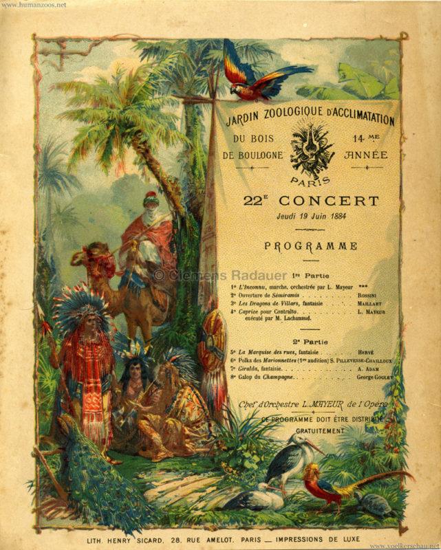 1884.06.19 Jardin Zoologique d'Acclimatation Konzertprogramm