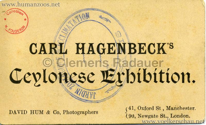 1886 Carl Hagenbeck's Ceylonese Exhibition RS