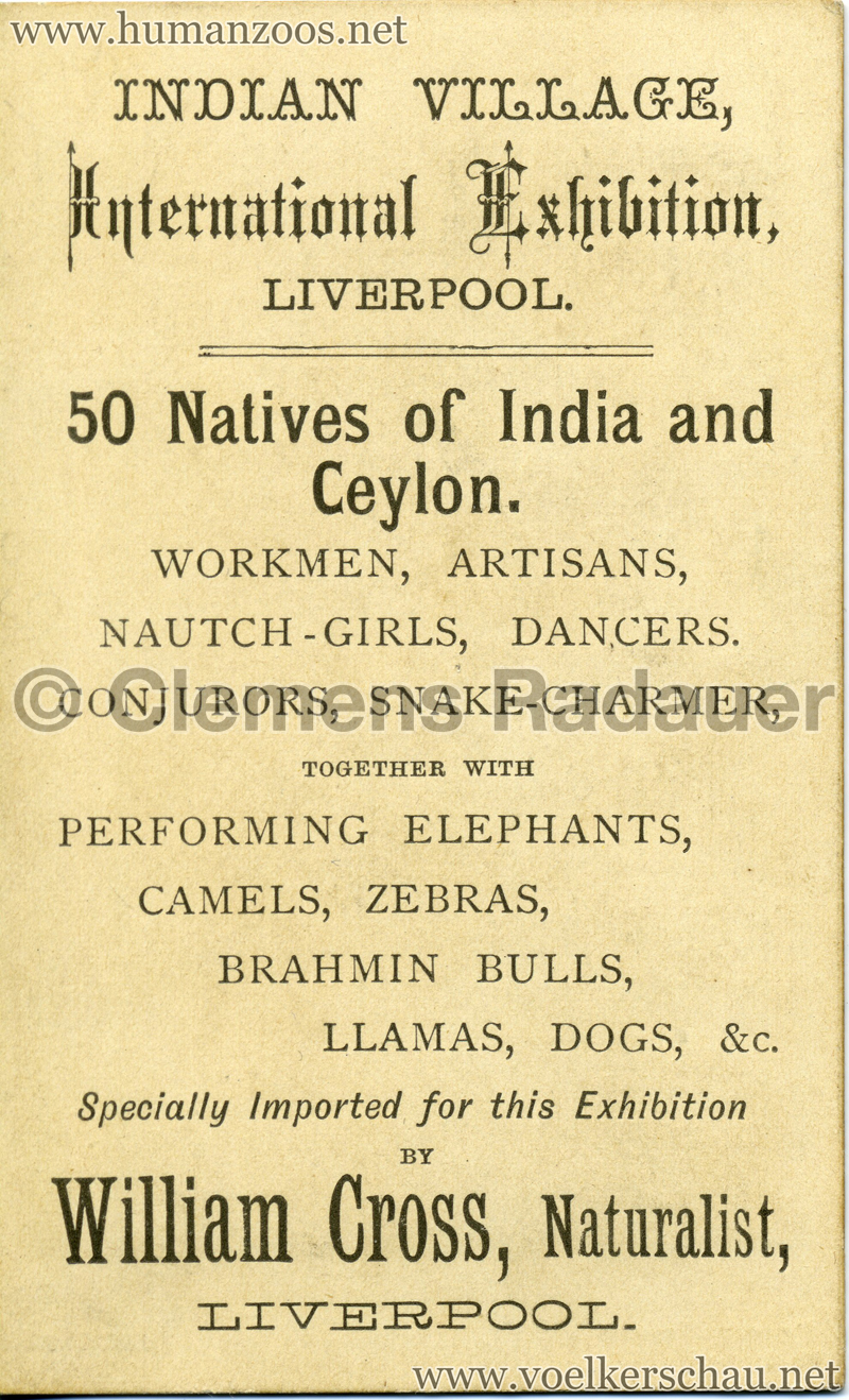1886 International Exhibition Liverpool - Indian Village RS