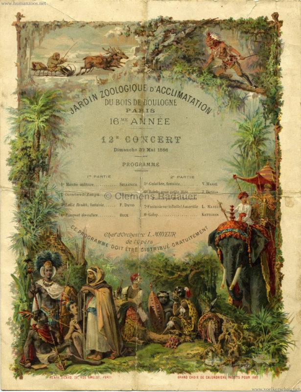 1886.12.30 Jardin Zoologique d'Acclimatation Konzertprogramm