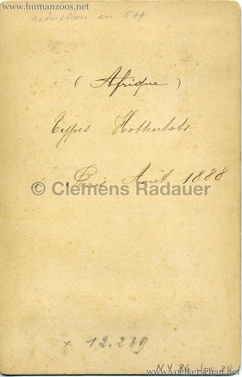 1888 Jardin Zoologique d'Acclimatation - Types Hottentots RS