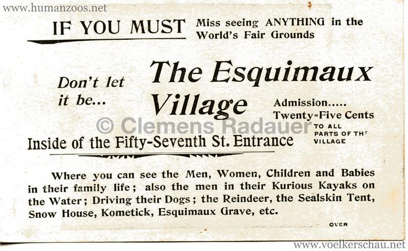 1893 World's Fair Chicago - The Esquimaux Village RS