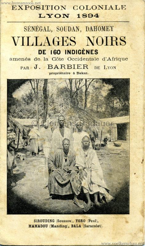 1894 Exposition Coloniale Lyon - Village Noir - Programmheft 1