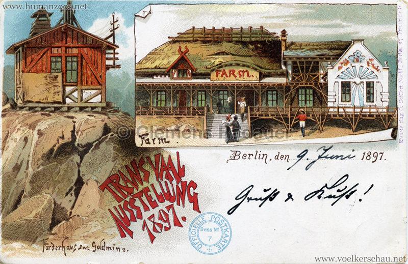 1897 Transvaal Ausstellung Berlin - Förderhaus zur Goldmine, Farm