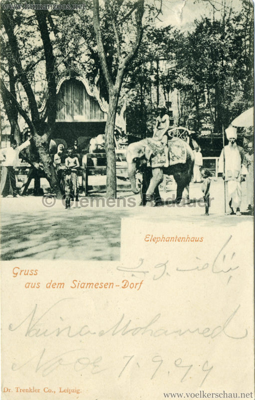 1899 Grüsse aus dem Siamesen-Dorf - Elefantenhaus