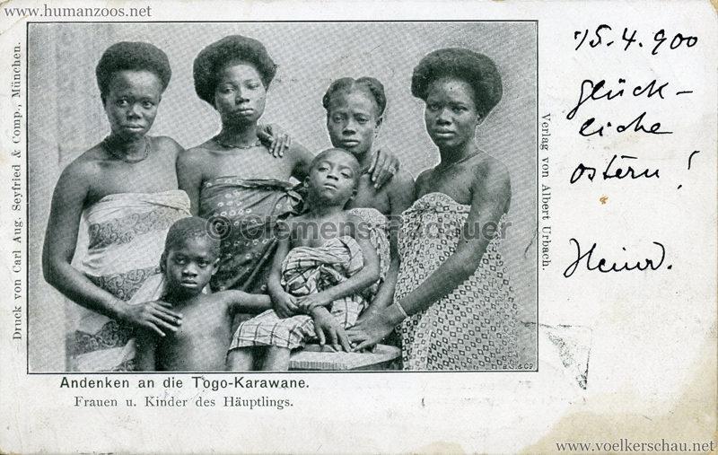 1900 (?) Andenken an die Togo-Karawane. Frauen u. Kinder des Häuptlings