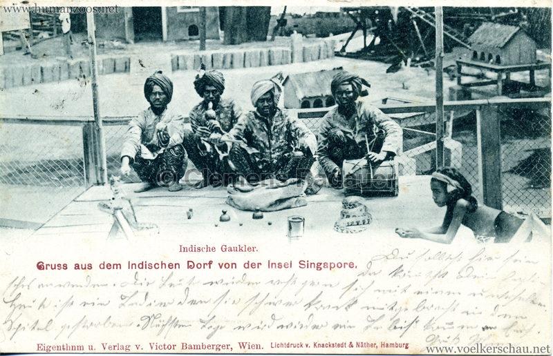 1900 Indisches Dorf von der Insel Singapore