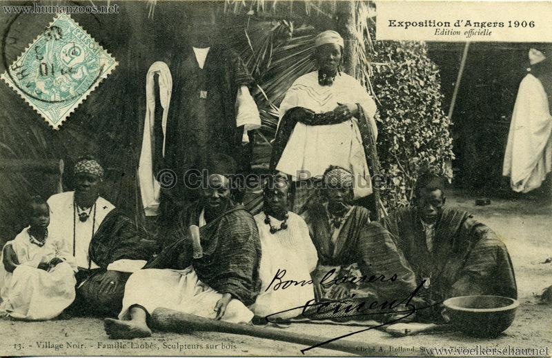 1906 Exposition d'Angers - 13. Au Village Noir - Famille Laobés, Sculpteurs sur bois