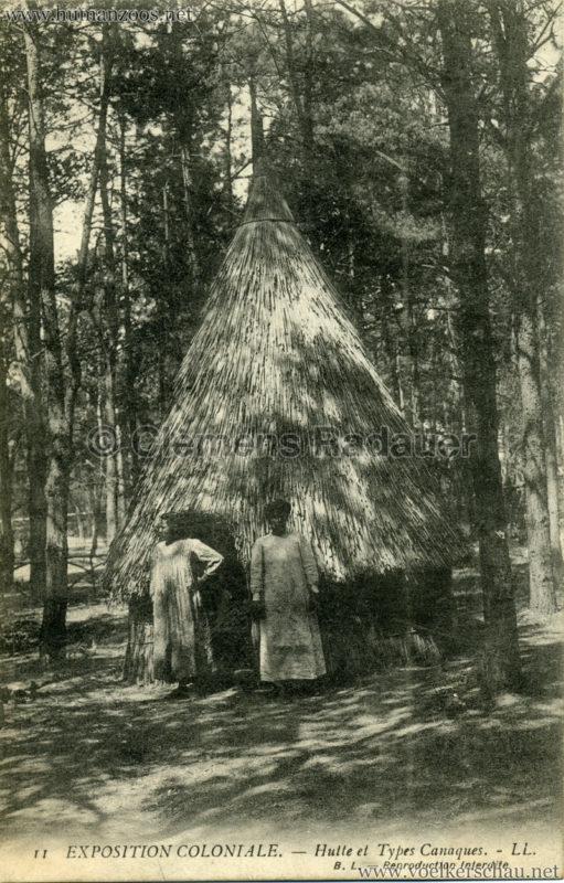 1907 Exposition Coloniale Paris, Bois de Vincennes - 11. Hutte et Types Canaques