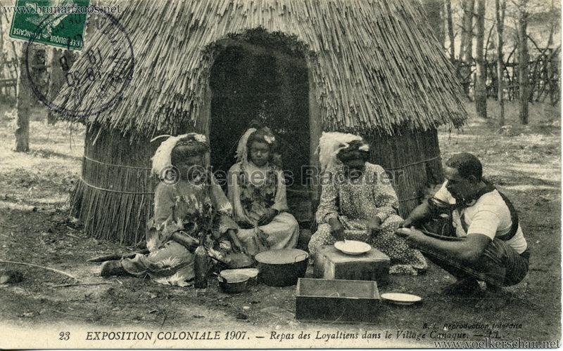 1907 Exposition Coloniale Paris, Bois de Vincennes - 23. Repas des Loyaltiens dans le Village Canaque
