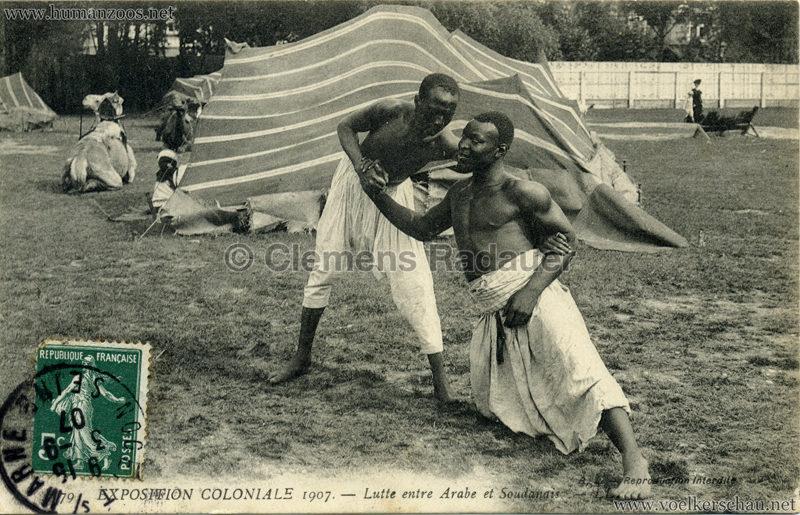 1907 Exposition Coloniale Paris, Bois de Vincennes - 79. Lutte entre Arabe et Soudanais
