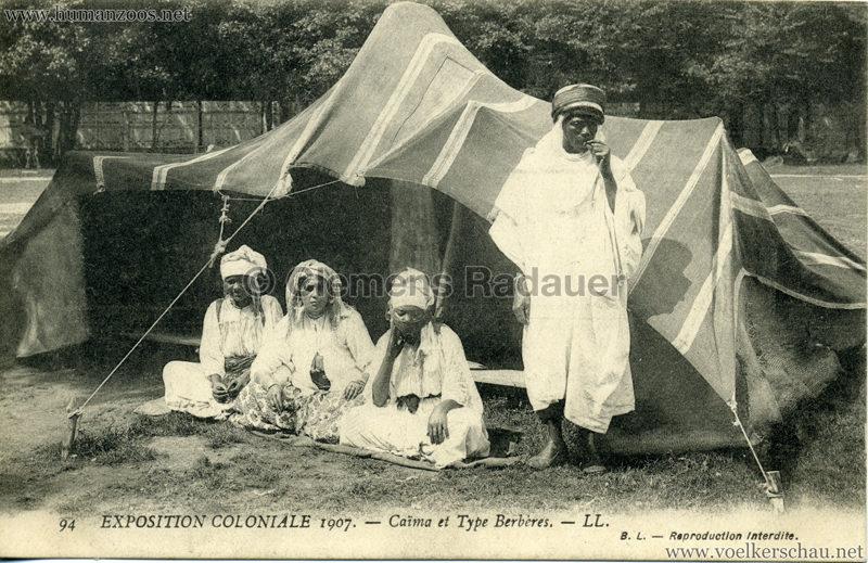 1907 Exposition Coloniale Paris, Bois de Vincennes - 94. Caima et Type Berbères