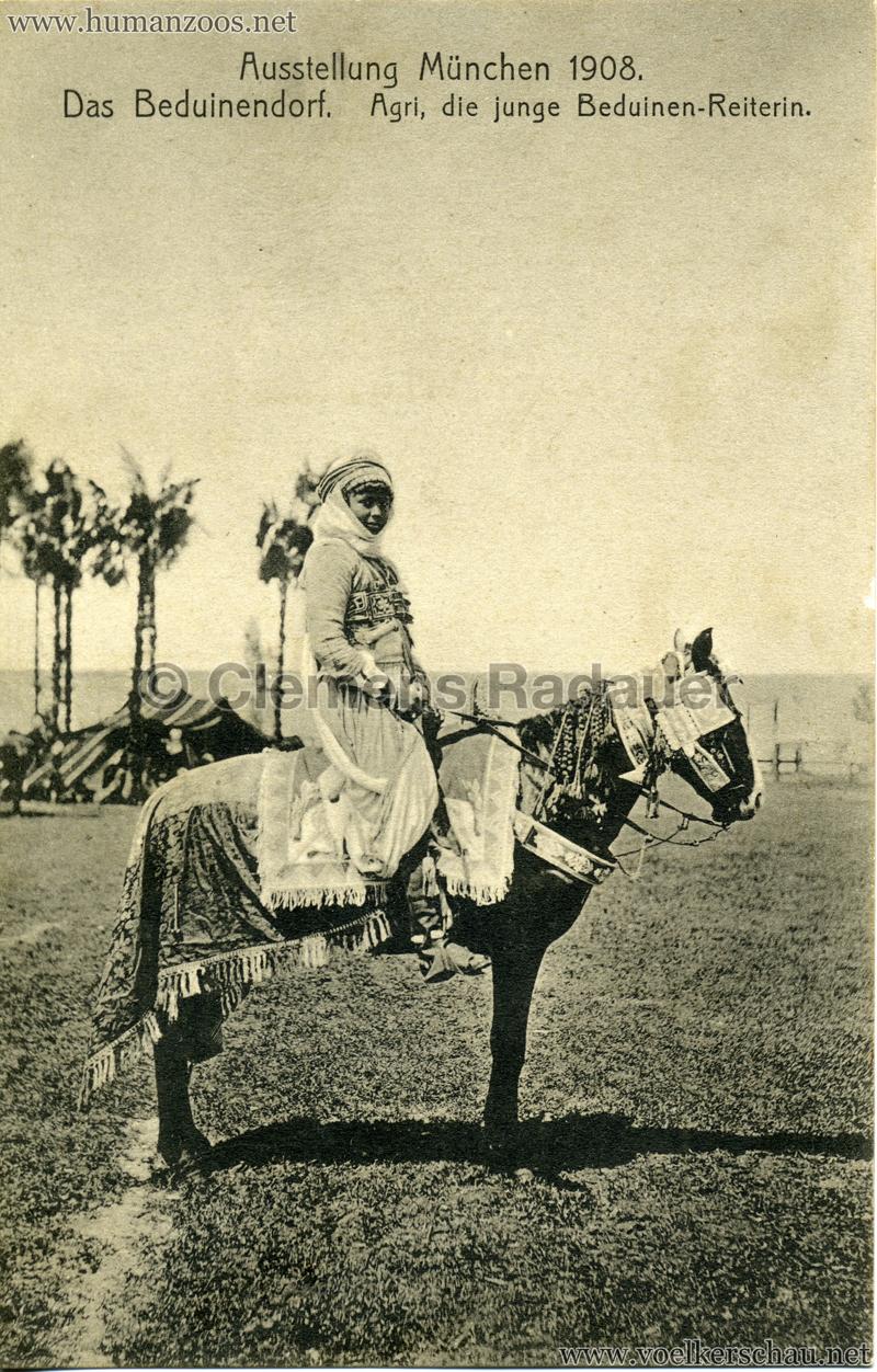 1908 Ausstellung München - Das Beduinendorf - 48. Agri, die junge Beduinen-Reiterin