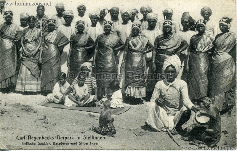 1908 (?) Carl Hagenbecks Tierpark in Stellingen. Völkerschau Indien - 422. Indische Gaukler, Bajaderen und Silbertänzer