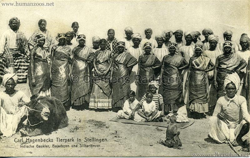 1908 (?) Carl Hagenbecks Tierpark in Stellingen. Völkerschau Indien - 424. Indische Gaukler, Bajaderen und Silbertänzer