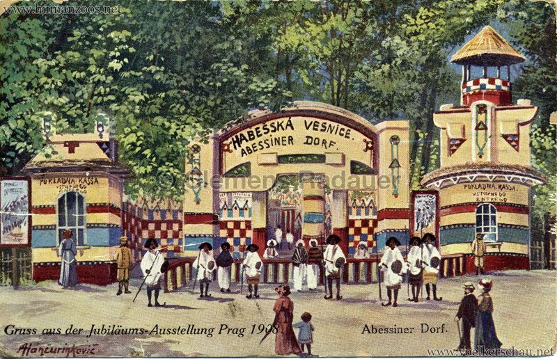 1908 Jubilejni vystava Praha, Abessinska vesnica 1