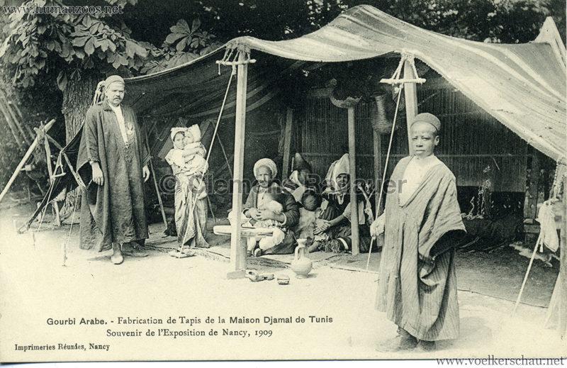 1909 l'Exposition de Nancy - Gourbi Arabe - Fabrication de Tapis de la Maison Djamal de Tunis 2