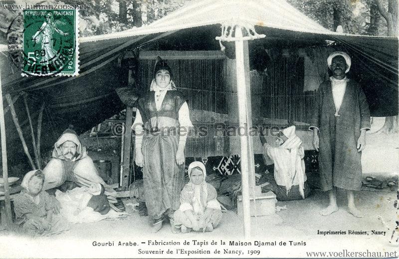 1909 l'Exposition de Nancy - Gourbi Arabe - Fabrication de Tapis de la Maison Djamal de Tunis 1