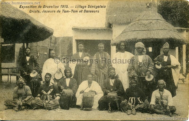 1910 Exposition de Bruxelles - Village Sénégalais - Griots, Jouers de Tam-Tam et Danseurs