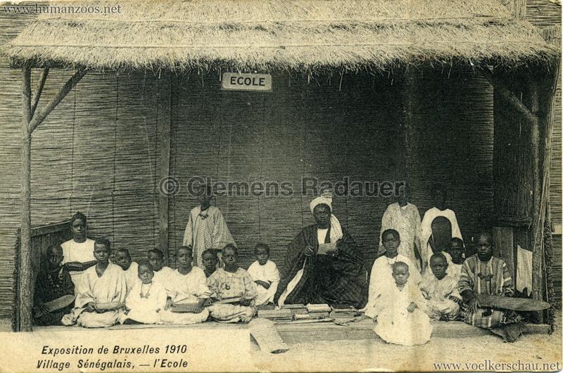 1910 Exposition de Bruxelles - Village Sénégalais - l'Ecole
