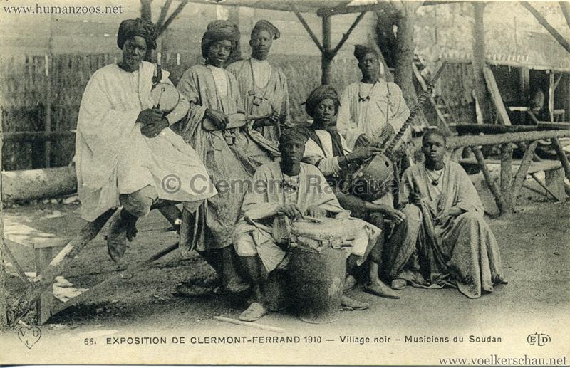 1910 Exposition de Clermont-Ferrand 66. Village Noir - Musiciens du Soudan