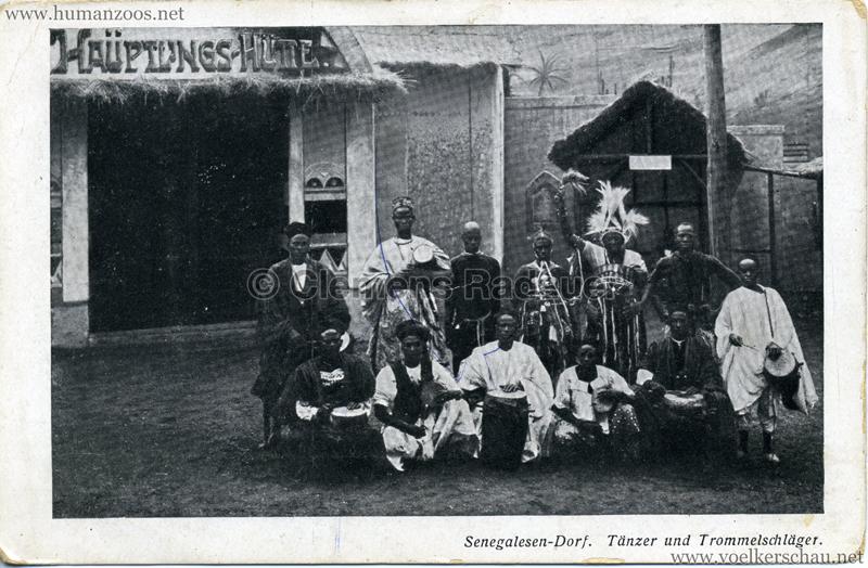 1910 (?) Senegalesen-Dorf. Tänzer und Trommelschläger