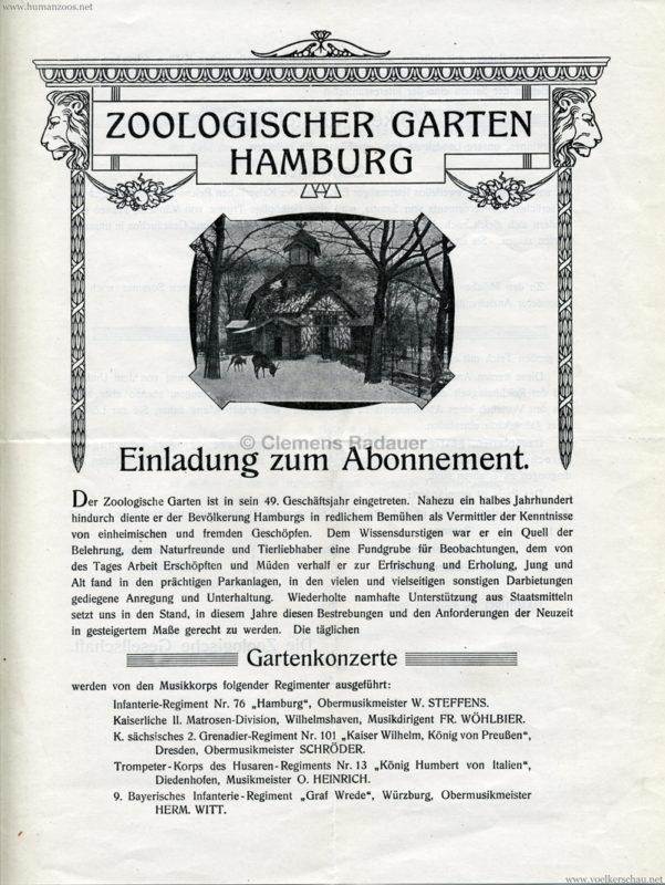1910 Zoologischer Garten Hamburg Abonnement 1