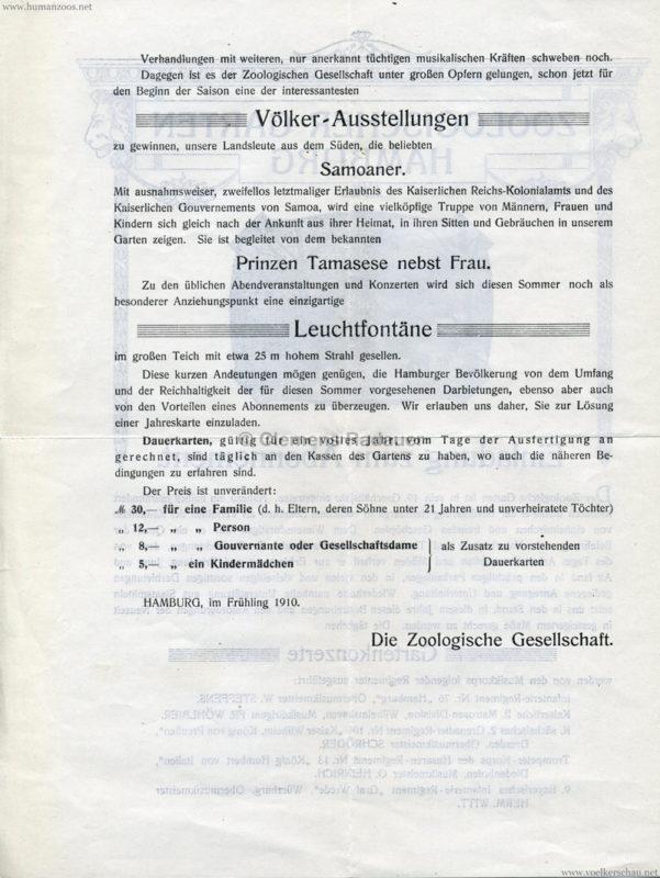 1910 Zoologischer Garten Hamburg Abonnement 2
