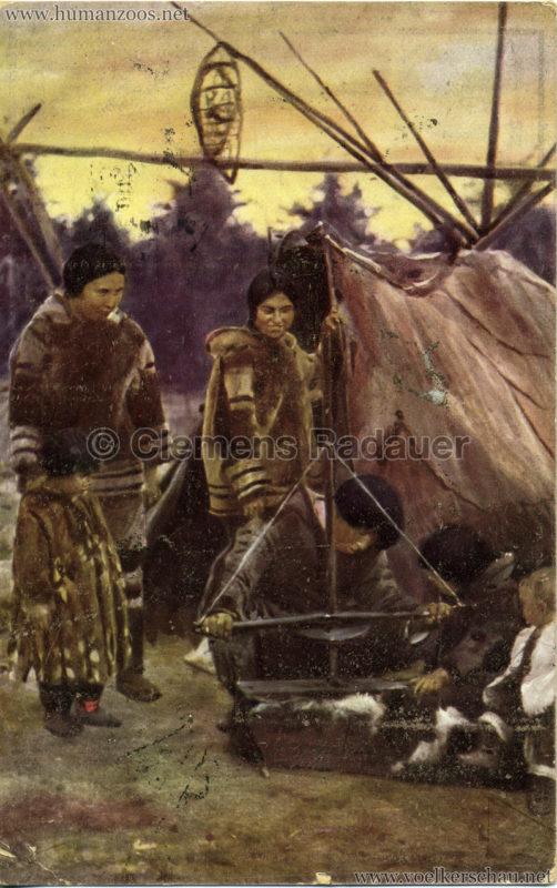 1911 Ausstellung Nordland, Berlin-Halensee - Eskimos beim Feuerbohren 2