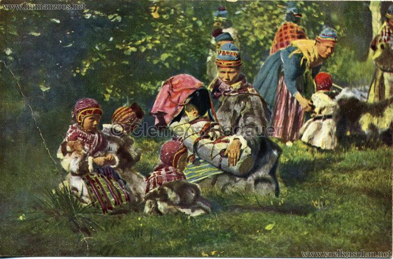1911 Ausstellung Nordland, Berlin-Halensee - Lappenmutter mit Kind in der Wiege