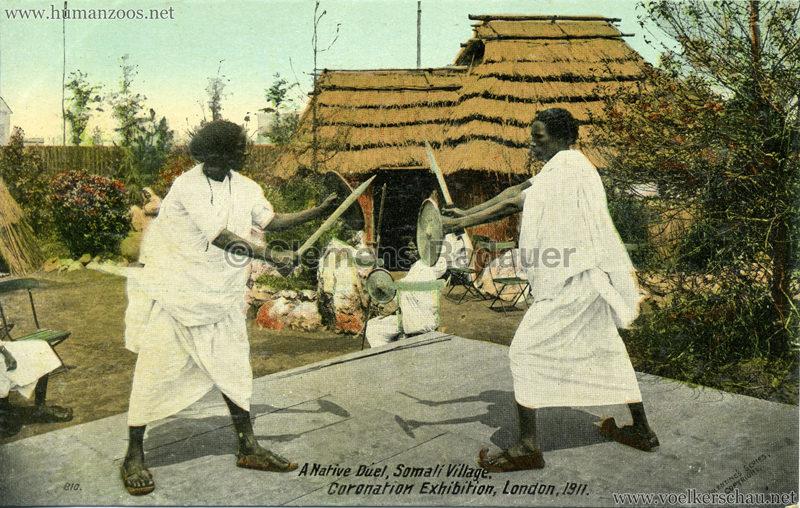 1911 Coronation Exhibition London - 810. A Native Duel, Somali Village