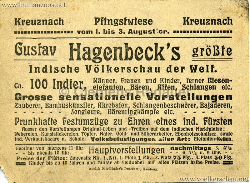 1911/1912 Gustav Hagenbeck's größte Indische Völkerschau der Welt RS