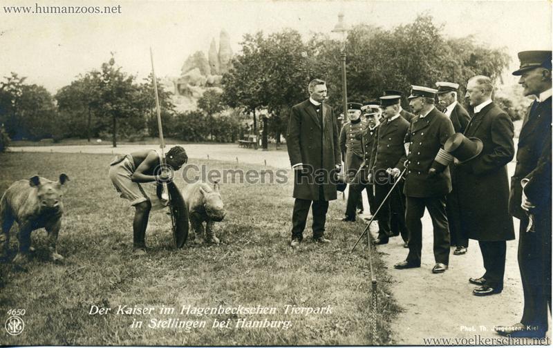 """1913 Völkerschau Birma (Hagenbeck) - 4650 """"Der Kaiser im Hagenbeckschen Tierpark in Stellingen bei Hamburg"""" VS"""