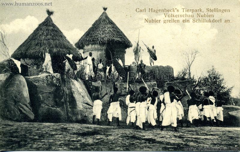 1913/1914 Völkerschau Nubien - 3. Nubier greifen ein Schillukdorf an
