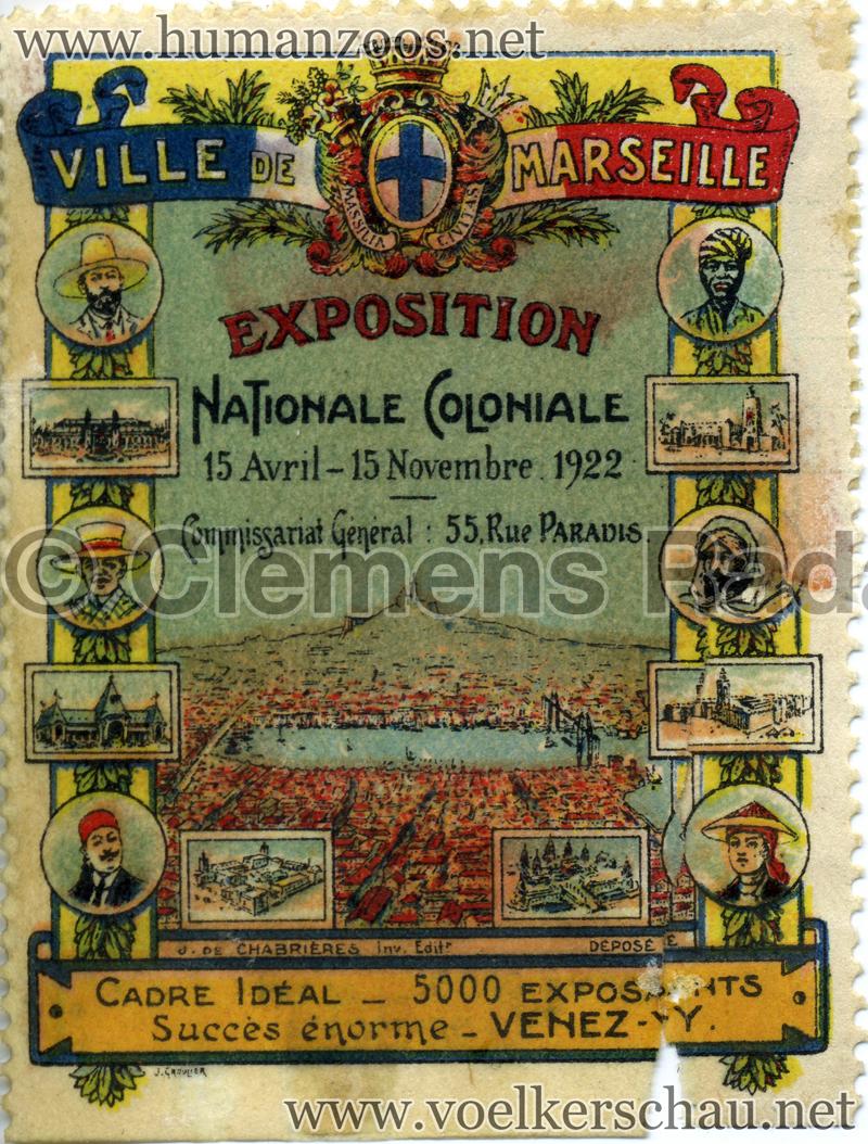 1922 Exposition Coloniale  Marseille - Briefmarke